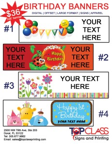 party birthday banners, custom banners, Doral banners, Miami banners, Florida banners